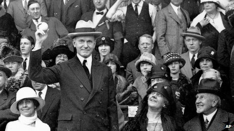President Calvin Coolidge prepares to throw out the ball for the opening game of the 1924 baseball World Series