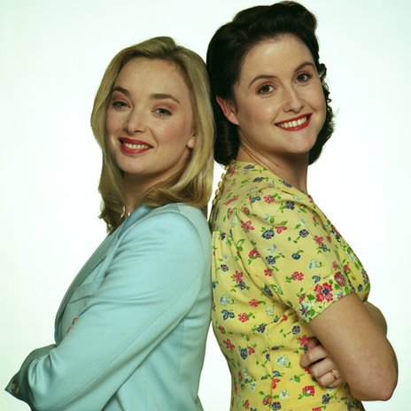 Emma Amos as Yvonne Sparrow and Elizabeth Carling as Phoebe Bamford/Sparrow in the comedy love story series Goodnight Sweetheart