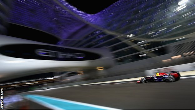 Mark Webber racing at the Abu Dhabi Grand Prix