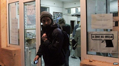 OSCE observers leave the polling station. 3 Nov 2013