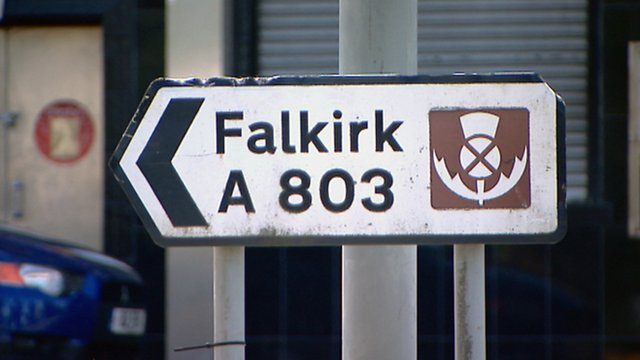 Road sign for Falkirk