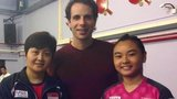 Queen's Baton Relay presenter Mark Beaumont with Isabelle Li and Jing Jun Hong