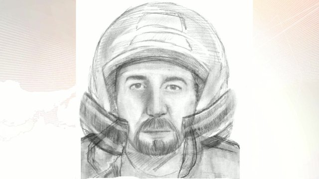 A sketch of a man wanted in connection with the murders of four people in the Alps last year