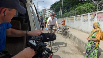 Mark Beaumont filming on location in Bangladesh