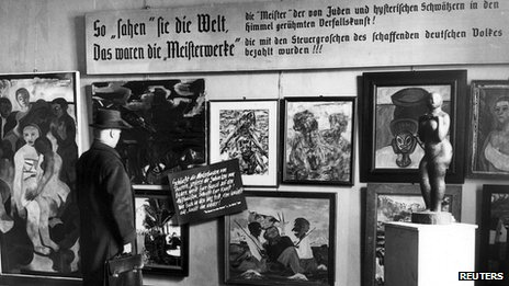 "Nazi ""Degenerate Art"" exhibition in Berlin, 24 Feb, 1938"
