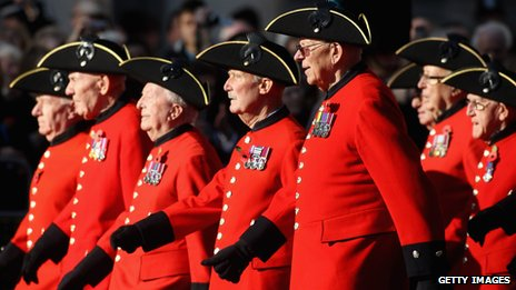 Chelsea pensioners at Remembrance service