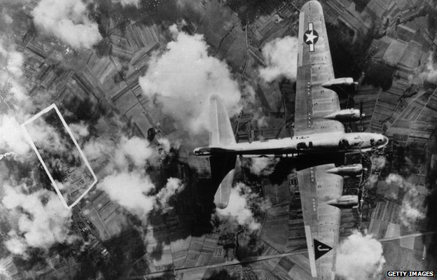 An Eighth Air Force bomber seen from above
