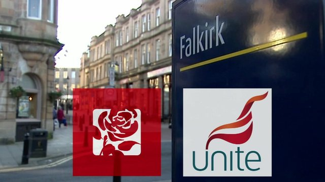 The Labour party logo and the Unite logo on a town sign for Falkirk