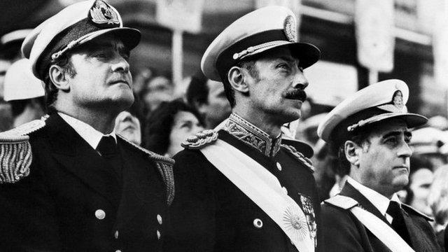 Argentine junta, 1977: Gen Agosti, Gen Videla, Adm Massera