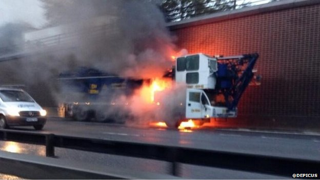 Crane fire on the M25