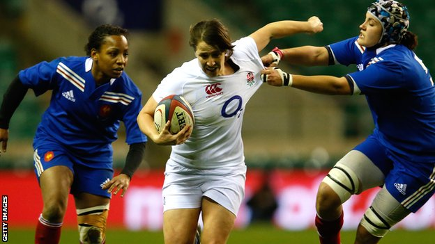 Katy Mclean in action for England Women against France in February
