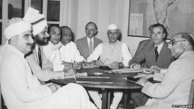 Sardar Patel (fourth from the left), June 1947 meeting