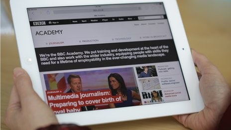The BBC Academy site displayed on a tablet
