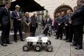 US Secretary of State John Kerry  controls a Mars rover prototype