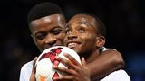 Saido Berahino celebrates scoring for England Under-21s