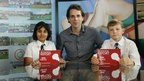 Mark Beaumont with School Reporter's Asma and Rory - Commonwealth Class