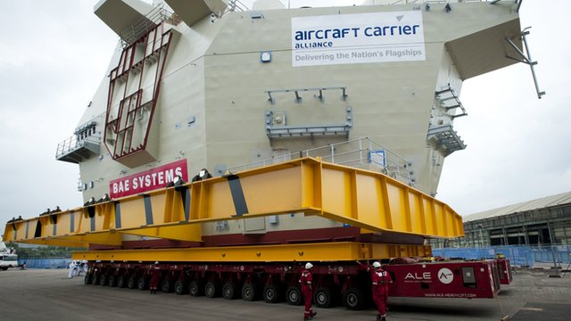 The 750 tonne aft island of the Royal Navy's Queen Elizabeth class aircraft carrier, at the BAE Systems factory in Scotstoun