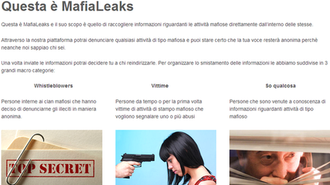 MafiaLeaks website front page grab