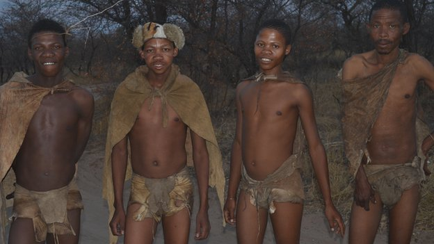 Basarwa Bushmen at a tourist village in Ghanzi, Botswana