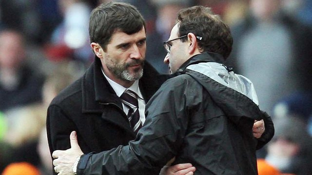 Roy Keane and Martin O'Neill embrace after the 2008 Premier League game between Sunderland and Aston Villa