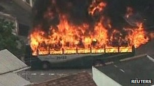 Burning bus in a favela