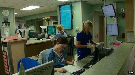 Medical employees perform their duties at the Ambulatory Internal Medicine Clinic at the University of Louisville, Kentucky