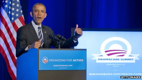 "President Barack Obama appeared at an ""Obamacare Summit"" in Washington DC on 4 November 2013"