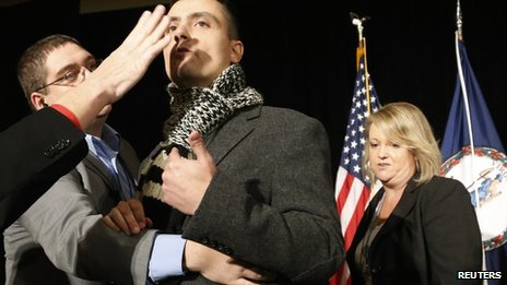 Immigration reform protester is barred from Cuccinelli rally