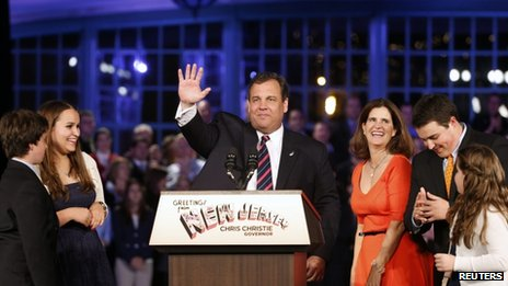 Republican Chris Christie after being re-elected governor of New Jersey