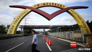 File photo: welcome sign of Shanghai Free Trade Zone, 25 September 2013