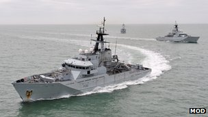Royal Navy River Class offshore patrol vessels HMS Tyne, HMS Severn and HMS Mersey