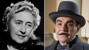 Agatha Christie and David Suchet as Hercule Poirot