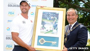 Gold Coast Mayor Tom Tate presents Adam Scott  the Key to the City at Royal Pines Resort .