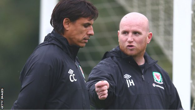 John Hartson with Wales manager Chris Coleman