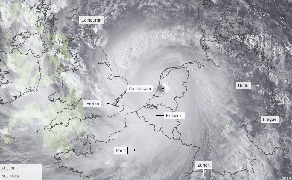 How Haiyan storm would stretch if it was placed over Europe