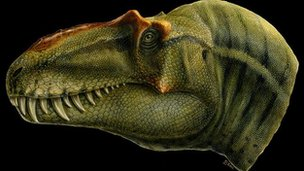 Artist's impression of the new tyrannosaur Lythronax announced by paleontologists