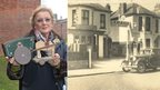 Left: Margaret Norcliffe (née Cox) and the wooden toy horse and cart she was given as a two-year-old in 1942 by an Italian prisoner of war. Right: The garage in Southbourne, Bournemouth, owned by Margaret Norcliffe's father which was used by the army to fix military vehicles