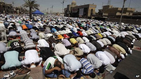 Shia followers of the cleric Moqtada Sadr pray in Sadr City, Baghdad
