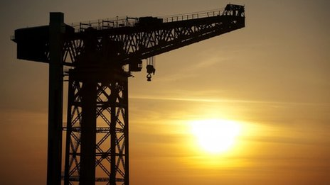 Sun sets at Govan shipyard in Glasgow