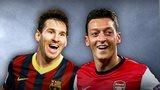 Barcelona's Lionel Messi, Arsenal's Mesut Ozil