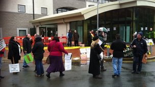 Protest outside Llangefni council offices