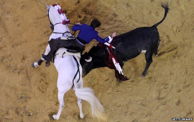 Bullfighter Pablo Hermoso de Mendoza during a bullfight at La Santamaria bullring in Bogota in January 2011