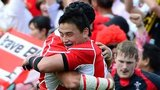 Japanese full back Ayumu Goroumaru celebrates the win over Wales