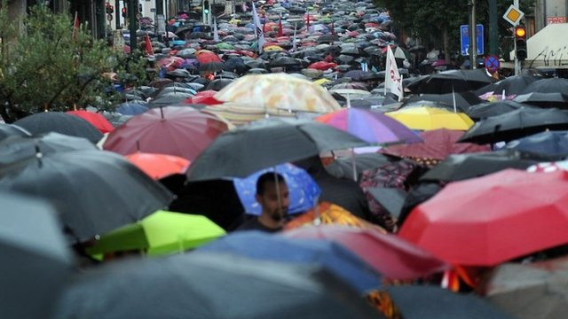 Mass of umbrellas at Greek rally