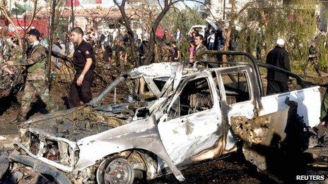 Aftermath of bombing in Suweida, Syria (6 Nov 2013)