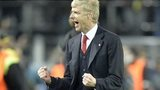 Arsenal manager Arsene Wenger celebrates at the final whistle of his side's win over Borussia Dortmund