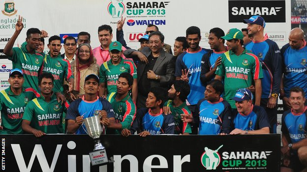 The Bangladesh team - and Prime Minister Shiekh Hasina Wajed - celebrate with the one-day series trophy