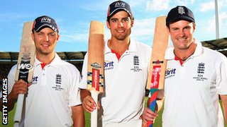 Jonathan Trott, Alastair Cook and Andrew Strauss