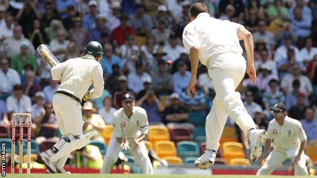 Steve Harmison bowls a wide to second slip at Brisbane in 2006