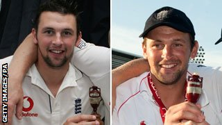 Steve Harmison with the Ashes urn in 2005 and 2009
